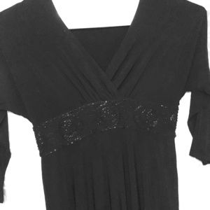 Plus Size Black Long Sleeve Beaded Gown